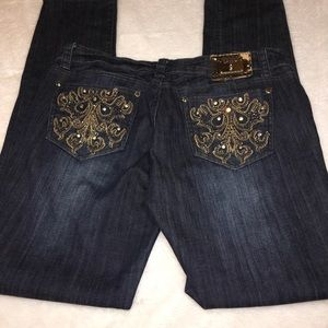 L. A. idol Jeweled Bling Skinny Jeans Size 11